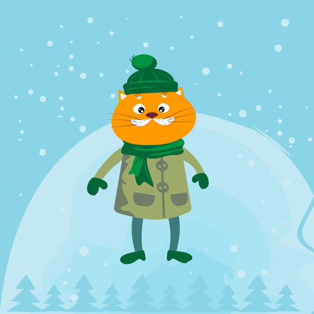 carroty: Cute red cat in a coat and hat Illustration