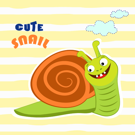 cochlea: Cute cartoon snail. T-shirt design vector illustration