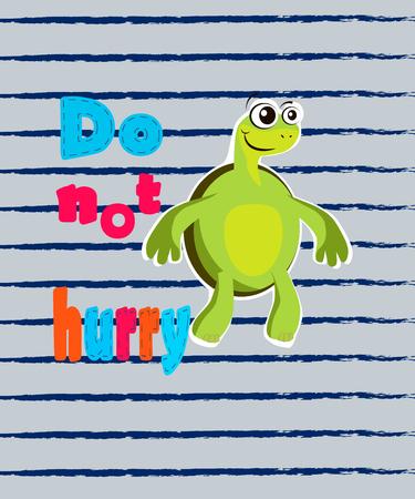 for boys: Cut turtle cartoon. T-shirt design for boys vector illustration