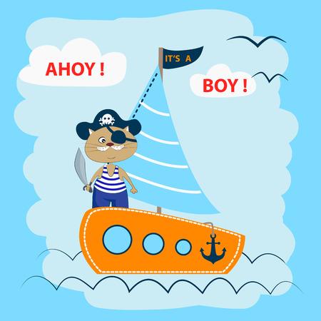 Ahoy! Its a boy! Cute cat on a pirate ship.