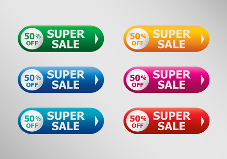 50 off: Super Sale banner  and infographic design template, business concept. Up to 50% off.