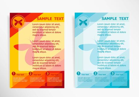 butterfly stationary: Butterfly icon on abstract modern template.