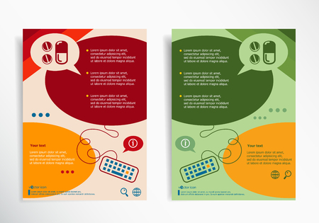 aspirin: Pill icon on abstract brochure design. Set of corporate business stationery templates.