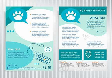 animal tracks: Paw symbol on vector Brochure Flyer design Layout template, size A4. Easy to use and edit.