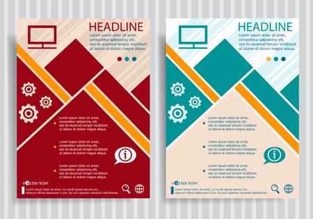 flatscreen: Monitor flat symbol modern flyer, brochure vector template.
