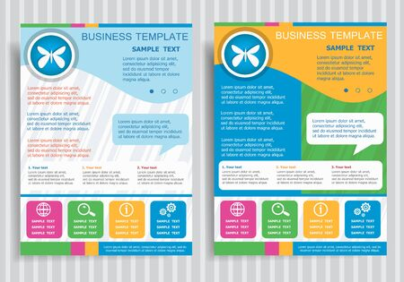 butterfly stationary: Butterfly icon on vector Brochure Flyer design Layout template, size A4. Easy to use and edit.
