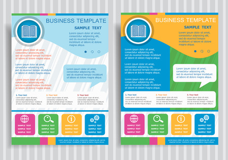 Book icon on vector Brochure Flyer design Layout template, size A4. Easy to use and edit.