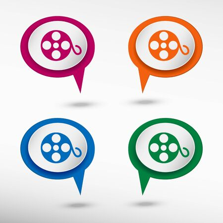 chat bubbles: Film reel icon on colorful chat speech bubbles