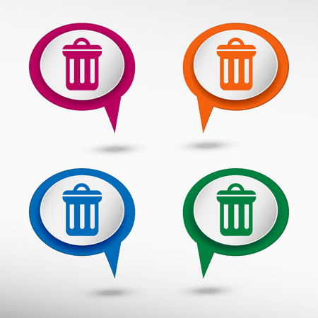 chat bubbles: Trash can icon on colorful chat speech bubbles