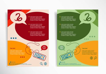 imminence: Snake icon on abstract brochure design. Set of corporate business stationery templates. Modern back and front flyer backgrounds.
