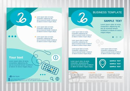 imminence: Snake icon on vector Brochure. Flyer design. Layout template, size A4.