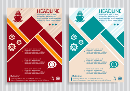 fishing boats: Ship  flat symbol modern flyer, brochure vector template.