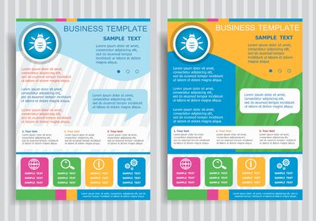 Bug icon on vector Brochure Flyer design Layout template, size A4. Easy to use and edit.