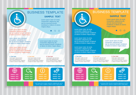 handicap: Disabled Handicap vector icon on vector Brochure Flyer design Layout template, size A4. Easy to use and edit. Illustration