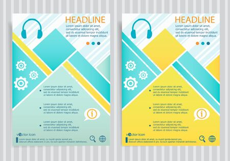 earpieces: Headphone symbol on vector brochure flyer design layout template. Business modern template