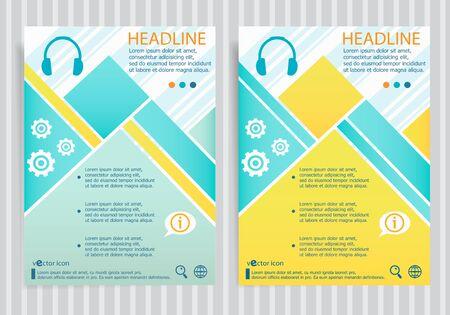 Headphone symbol on vector brochure flyer design layout template. Business modern template