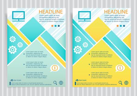 Monitor symbol on vector brochure flyer design layout template. Business modern template Illustration