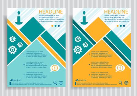 paraffin: Candle web symbol on vector brochure flyer design layout template. Business modern template Illustration