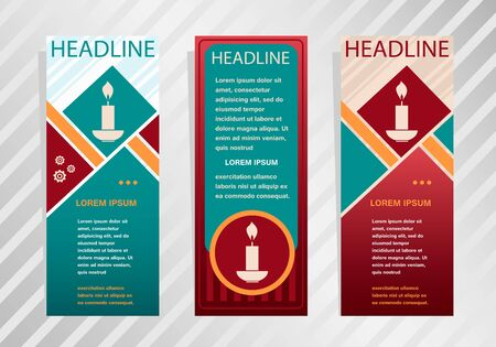 paraffin: Candle icon on vertical banner. Modern abstract flyer, banner, brochure design template. Illustration