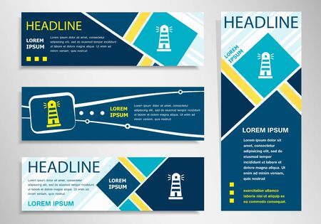illuminative: Lighthouse icon on horizontal and vertical banner. Lighthouse abstract banner, flyer design template.