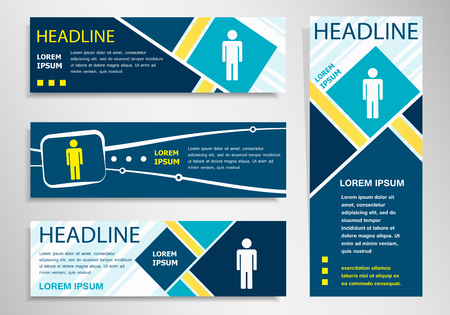 and the horizontal man: Man icon on horizontal and vertical banner. Man abstract banner, flyer design template.