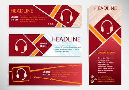 earpieces: Live help sign  on vector website headers, business success concept. Modern abstract flyer, banner