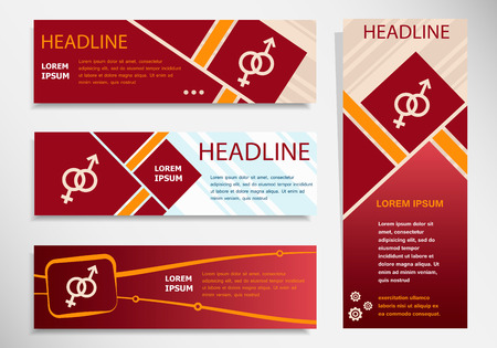 womanhood: Male and female icon on vector website headers, business success concept. Modern abstract flyer, banner