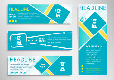 illuminative: Lighthouse icon on vertical and horizontal banner. Modern abstract flyer, banner design template.