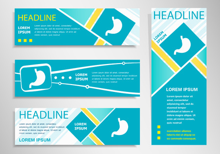 Stomach icon on vertical and horizontal banner. Modern abstract flyer, banner design template.