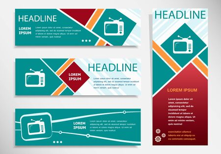 telecast: Television icon on horizontal and vertical banner. Modern abstract flyer, banner, brochure design template.