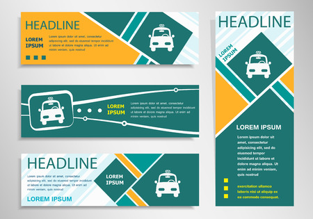 Taxi symbol on horizontal and vertical discount banner, header. Modern banner design template
