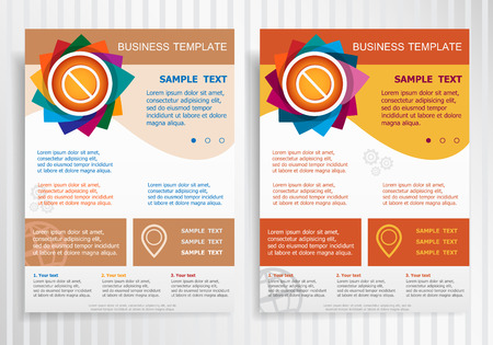 restrictive: Ban icon on abstract vector brochure template. Flyer layout. Flat style. Illustration