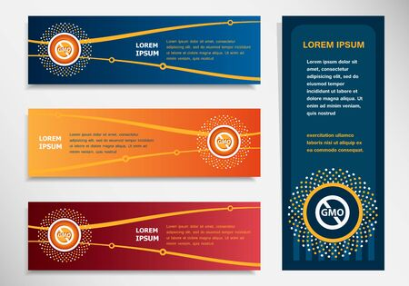 modified: Without Genetically modified food symbol on modern abstract, banner, brochure design template. Collection for Business