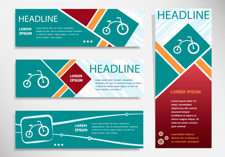 Bicycle icon on horizontal and vertical banner. Modern abstract flyer, banner, brochure design template.