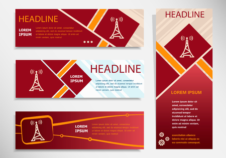 transmitter: Transmitter icon on vector website headers, business success concept. Modern abstract flyer, banner.
