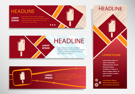 Ice cream on vector website headers, business success concept. Modern abstract flyer, banner.