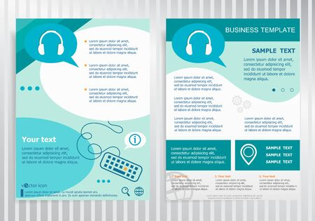 earpieces: Headphone symbol on vector Brochure. Flyer design. Layout template, size A4. Illustration