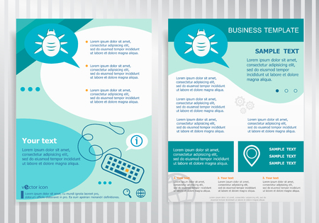 Bug symbol on vector Brochure. Flyer design. Layout template, size A4.  イラスト・ベクター素材