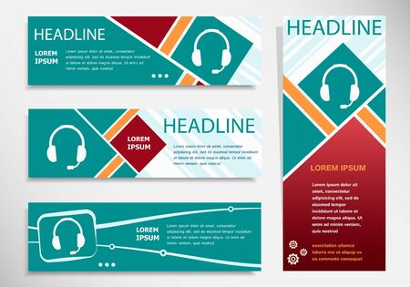 earpieces: Live help sign on horizontal and vertical banner. Modern abstract flyer, banner, brochure design template. Illustration