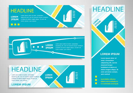 flatiron: Iron icon on vertical and horizontal banner. Modern abstract flyer, banner design template. Illustration
