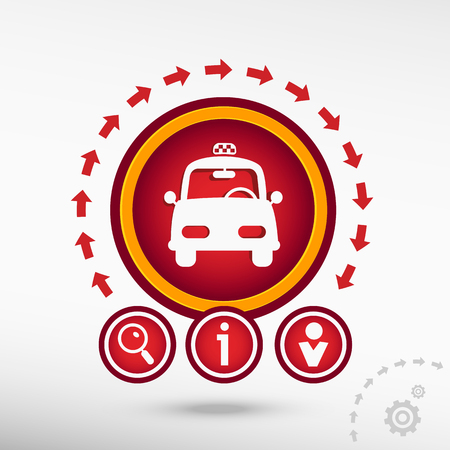 excursions: Taxi flat icon on creative background. Red design concept for banner, web, advertising, print. Illustration