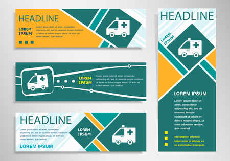 Ambulance icon on horizontal and vertical discount banner, header. Modern banner design template