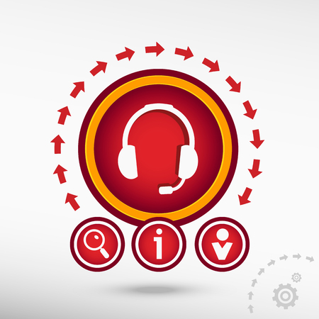 earpieces: Live help  flat icon on creative background. Red design concept for banner, web, advertising, print.