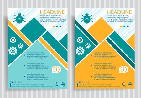 acarus: Bug web symbol on brochure design layout template. Business modern template Illustration