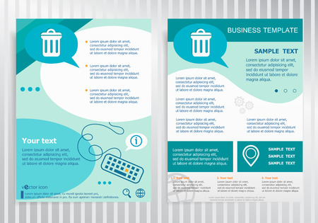 publisher: Trash can symbol on vector Brochure. Flyer design. Layout template, size A4.