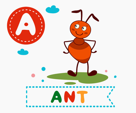 Hand drawn letter A and funny cute ant. Childrens alphabet in cartoon style, vector illustration.
