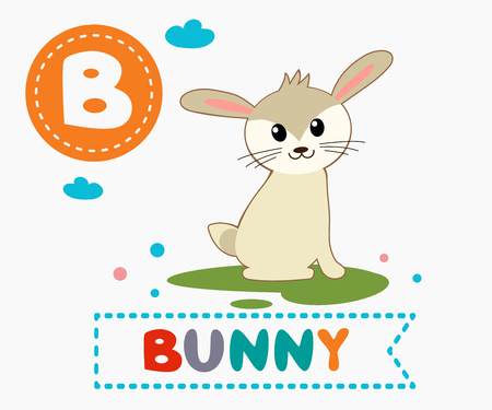 Hand drawn letter B and funny cute bunny. Childrens alphabet in cartoon style, vector illustration.