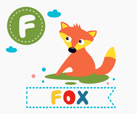 Hand drawn letter F and funny cute fox. Children's alphabet in cartoon style, vector illustration.