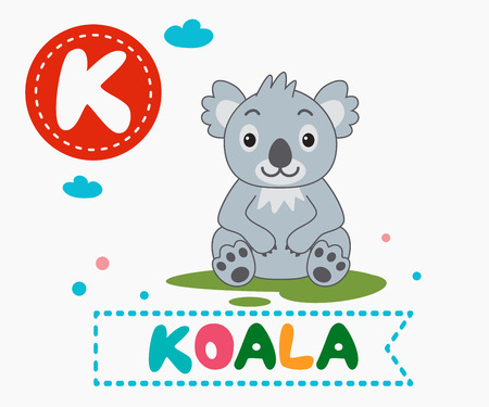 Hand drawn letter K and funny cute koala. Childrens alphabet in cartoon style, vector illustration.