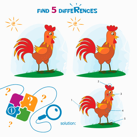 finding: Find 5 differences. Cartoon Vector Illustration of Finding Differences Educational Activity Task for Children with cute rooster.